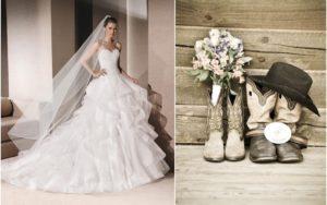suknia ślubna i buty