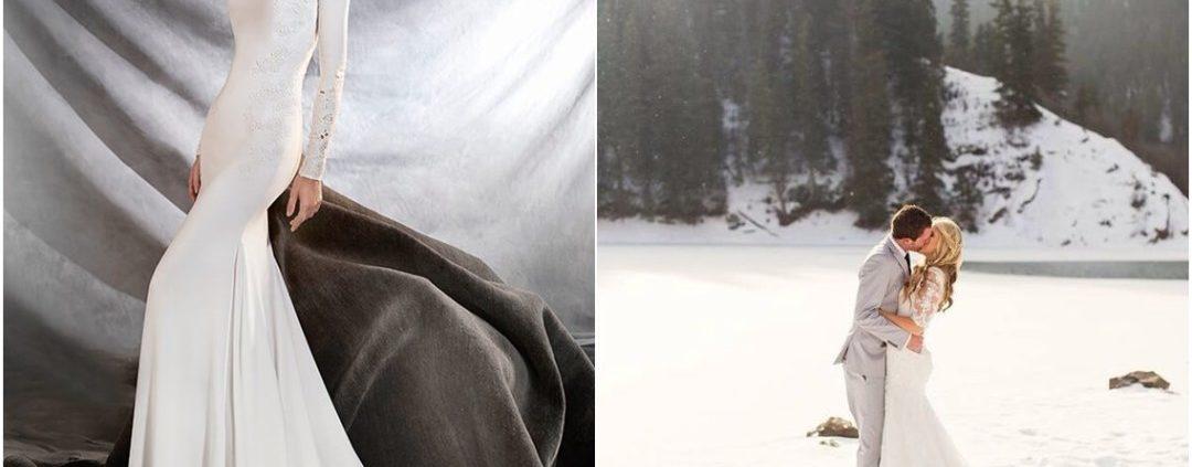 suknia i zdjęcie w zimowym plenerze z całującą się parą
