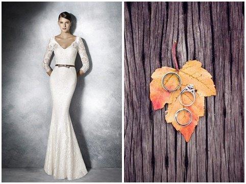 suknia ślubna i obrączki